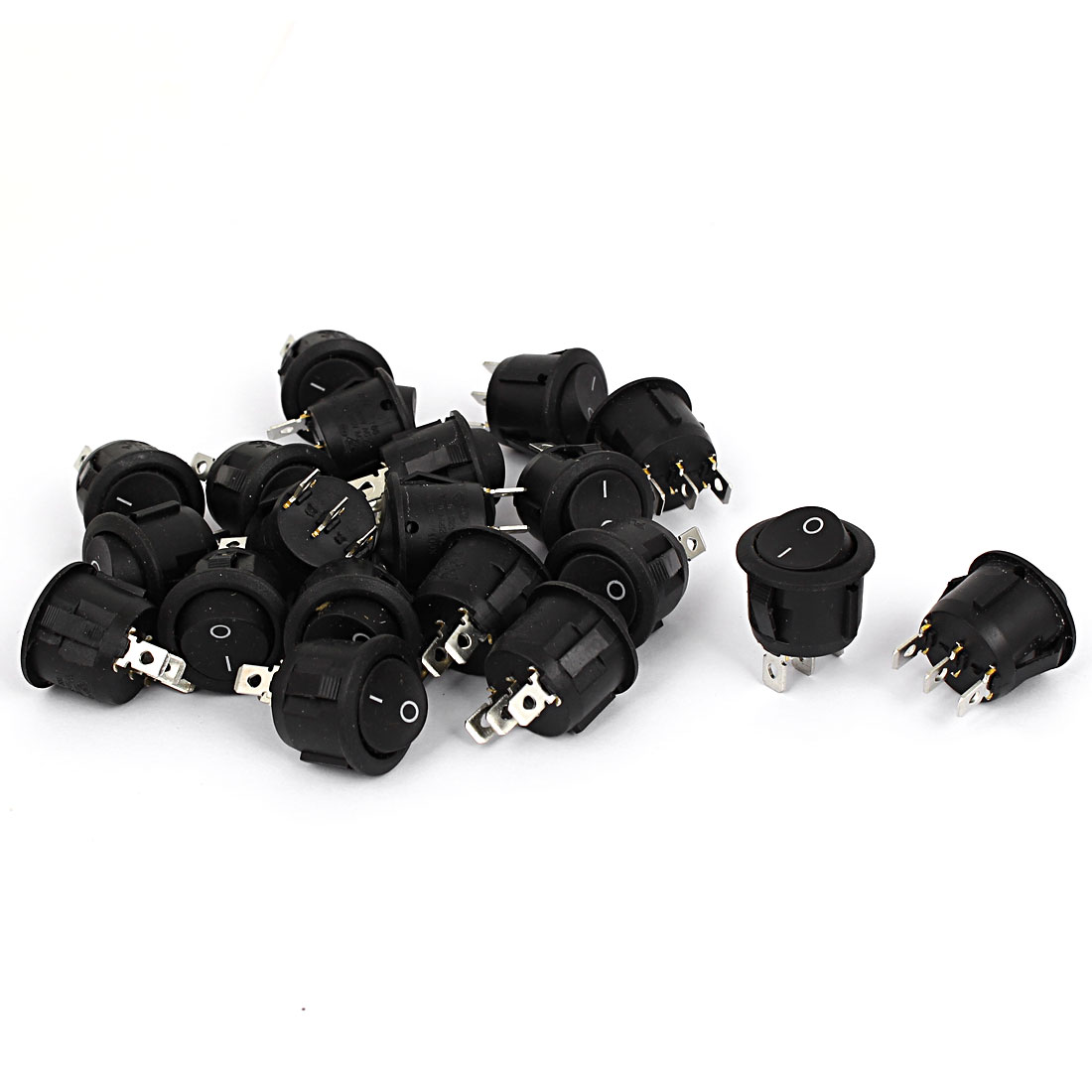 AC 6A/250V 10A/125V 3 Terminals SPDT NO-OFF Oval Boat Rocker Switch Black 20 Pcs