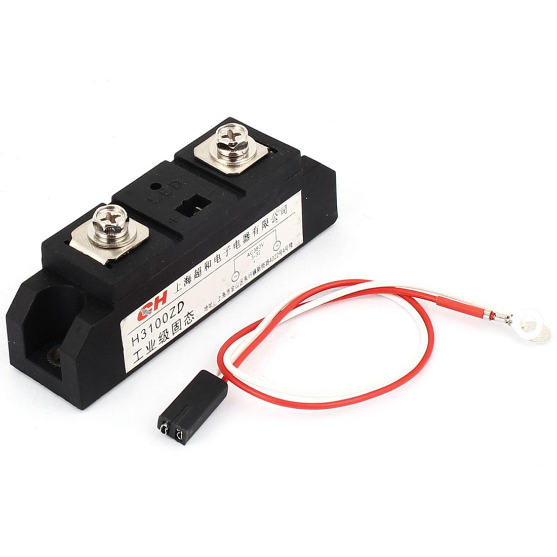H3100Z SSR AC-AC 3-32VDC to 380VAC 100A w Wire Solid State Relay