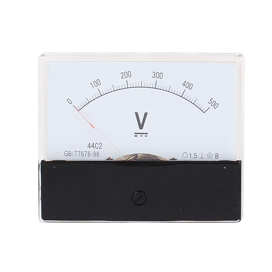 44C2 Pointer Needle DC 0-500V Volt Tester Panel Analog Voltmeter 100mm x 80mm