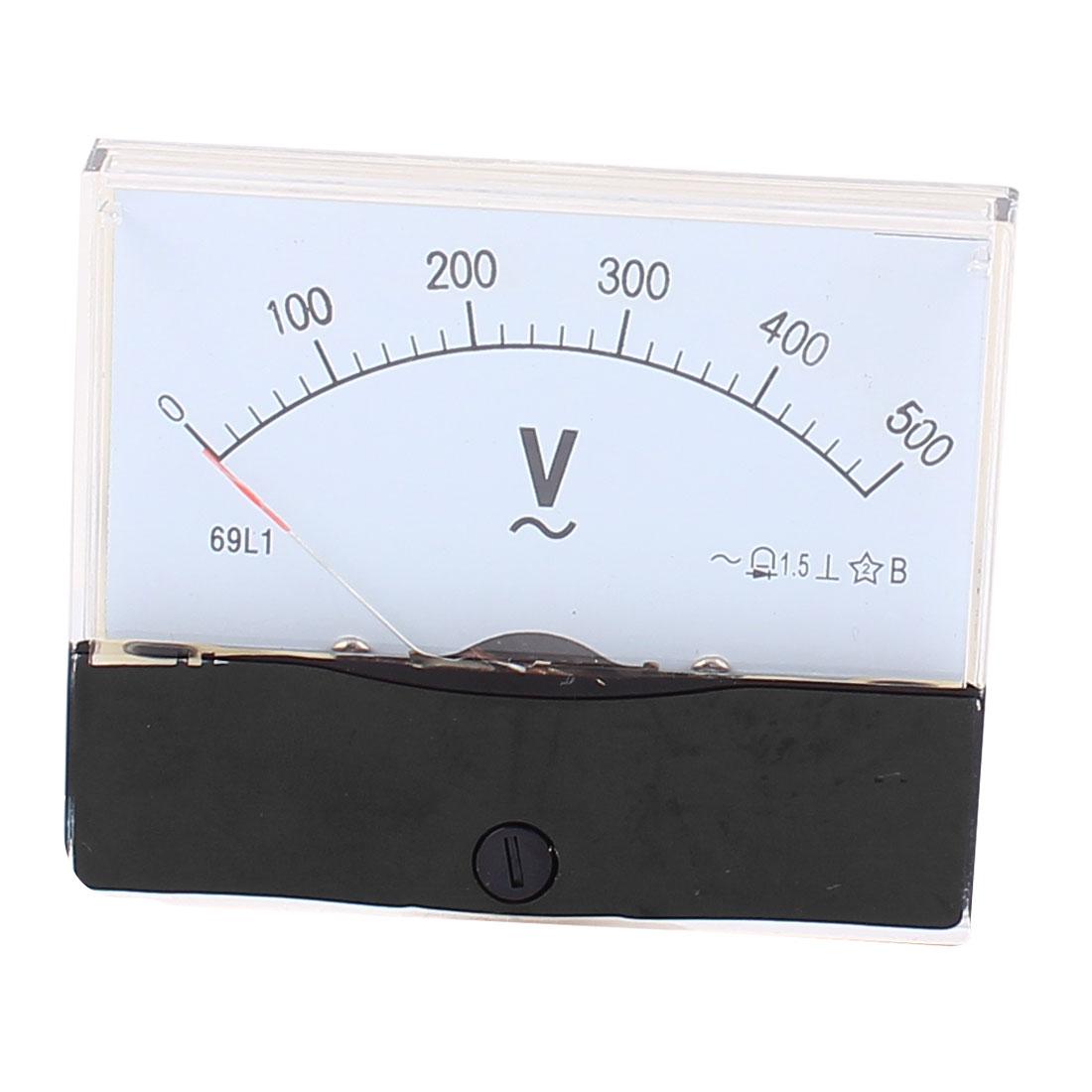 69L13 Pointer Needle AC 0-500V Volt Tester Panel Analog Voltmeter 80mm x 65mm