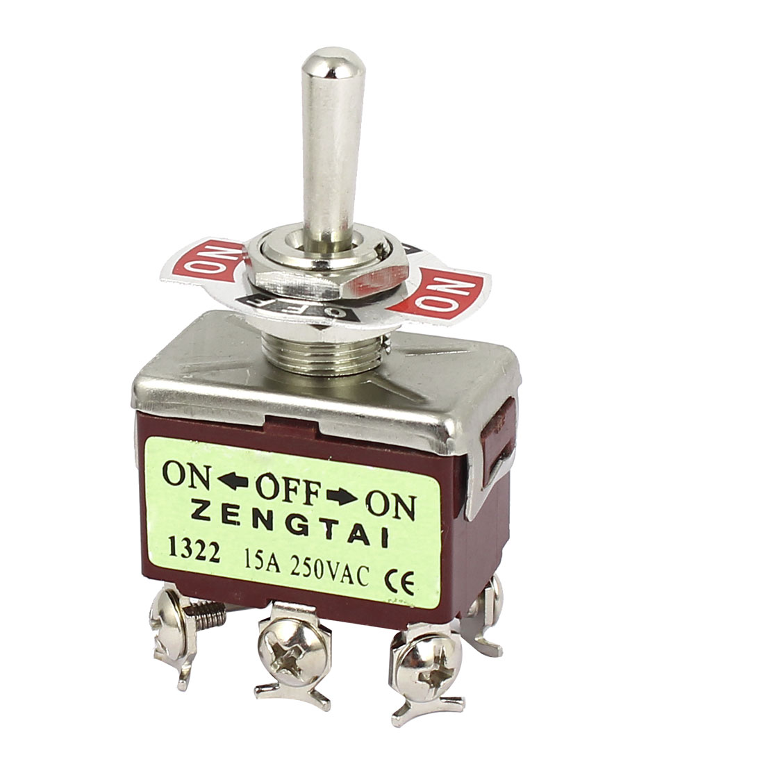 AC250V 15A DPDT ON-OFF-ON 3 Position Latching Miniature Toggle Switch Red