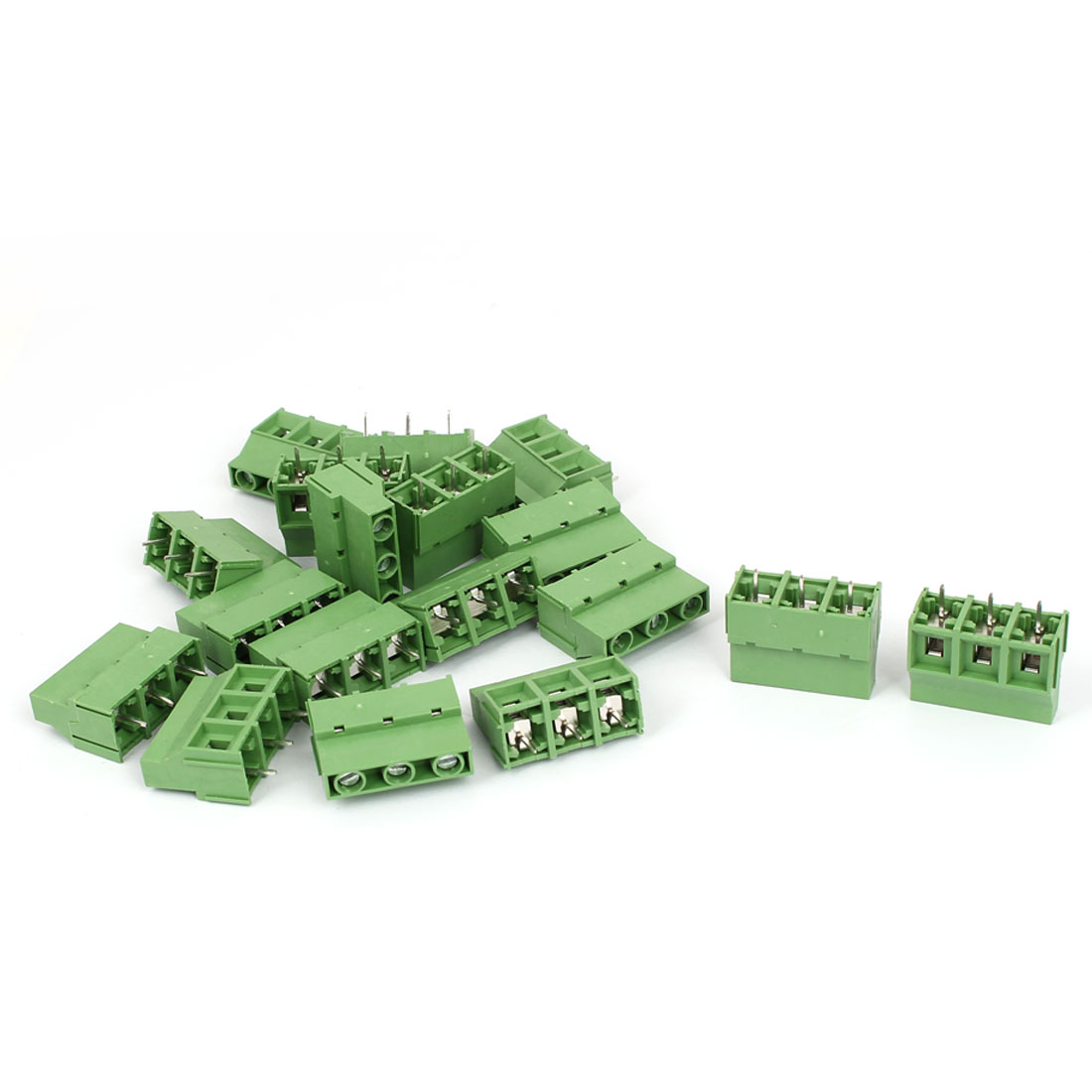 18Pcs 300V KF-950 3 Terminals Plug-in Screw Terminal Block Connector 9mm Pitch Green