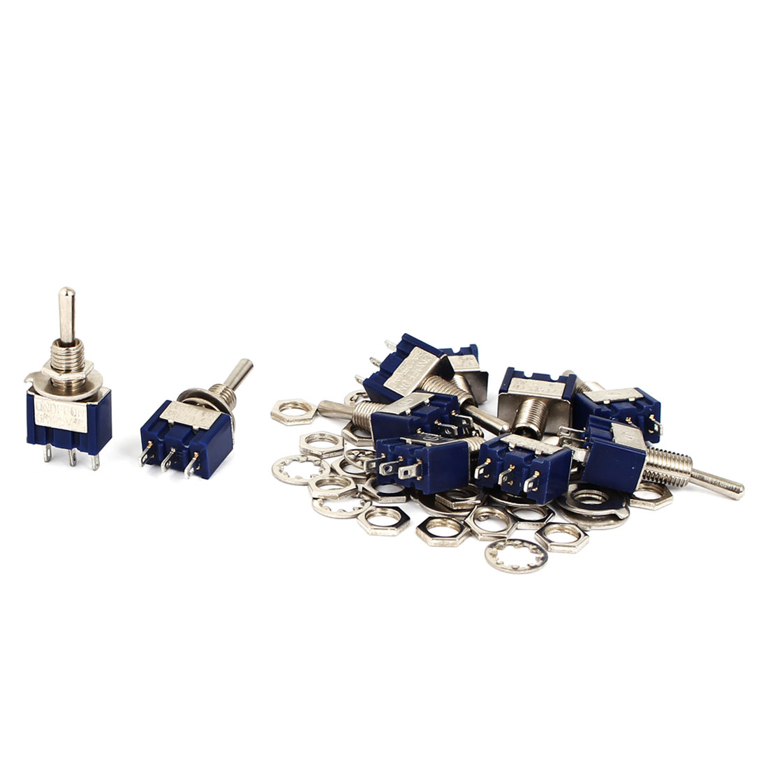 10Pcs AC 125V 6A SPDT ON-OFF-ON 3 Position Latching Miniature Toggle Switch Blue