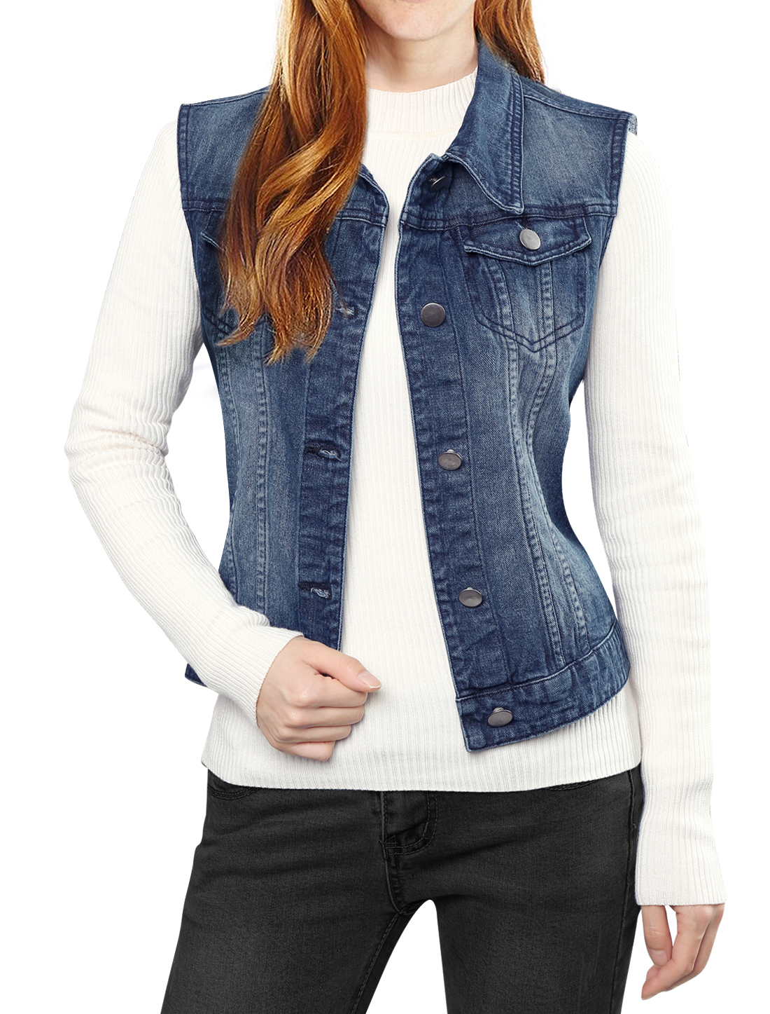Ladies Buttoned Washed Denim Vest w Flap Pockets Dark Blue XS