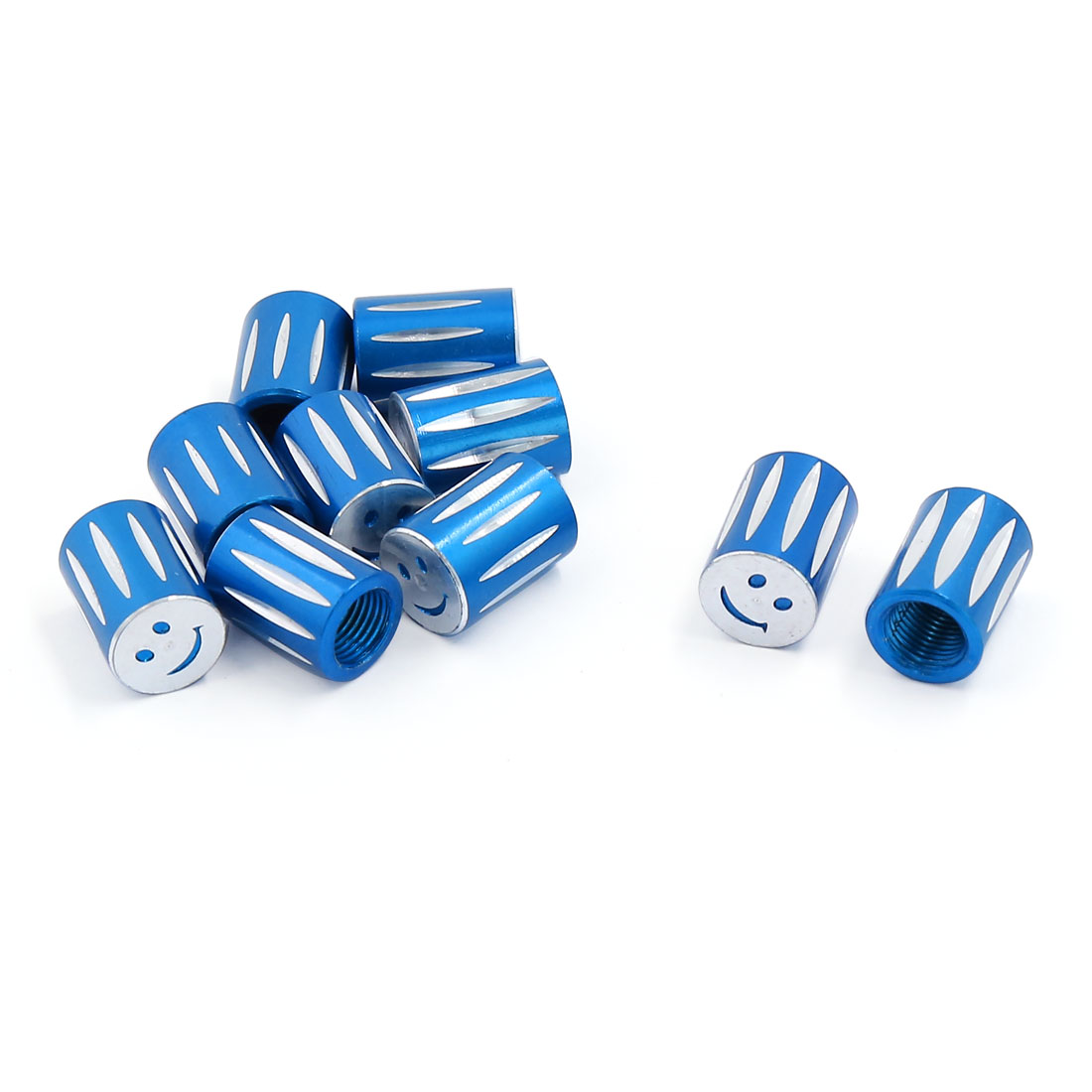 10pcs 7mm Thread Dia Smile Pattern Motorcycle Tyre Tire Valve Cap Air Dust Cover