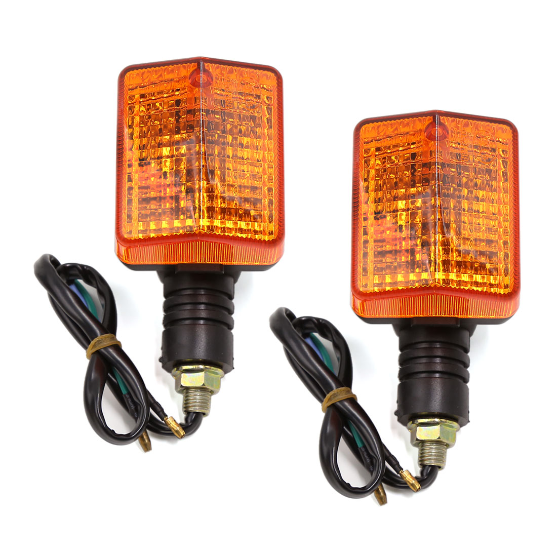Pair 10mm Thread Amber Turn Signal Blinker Lights Lamps 12V for CBT Motorcycle