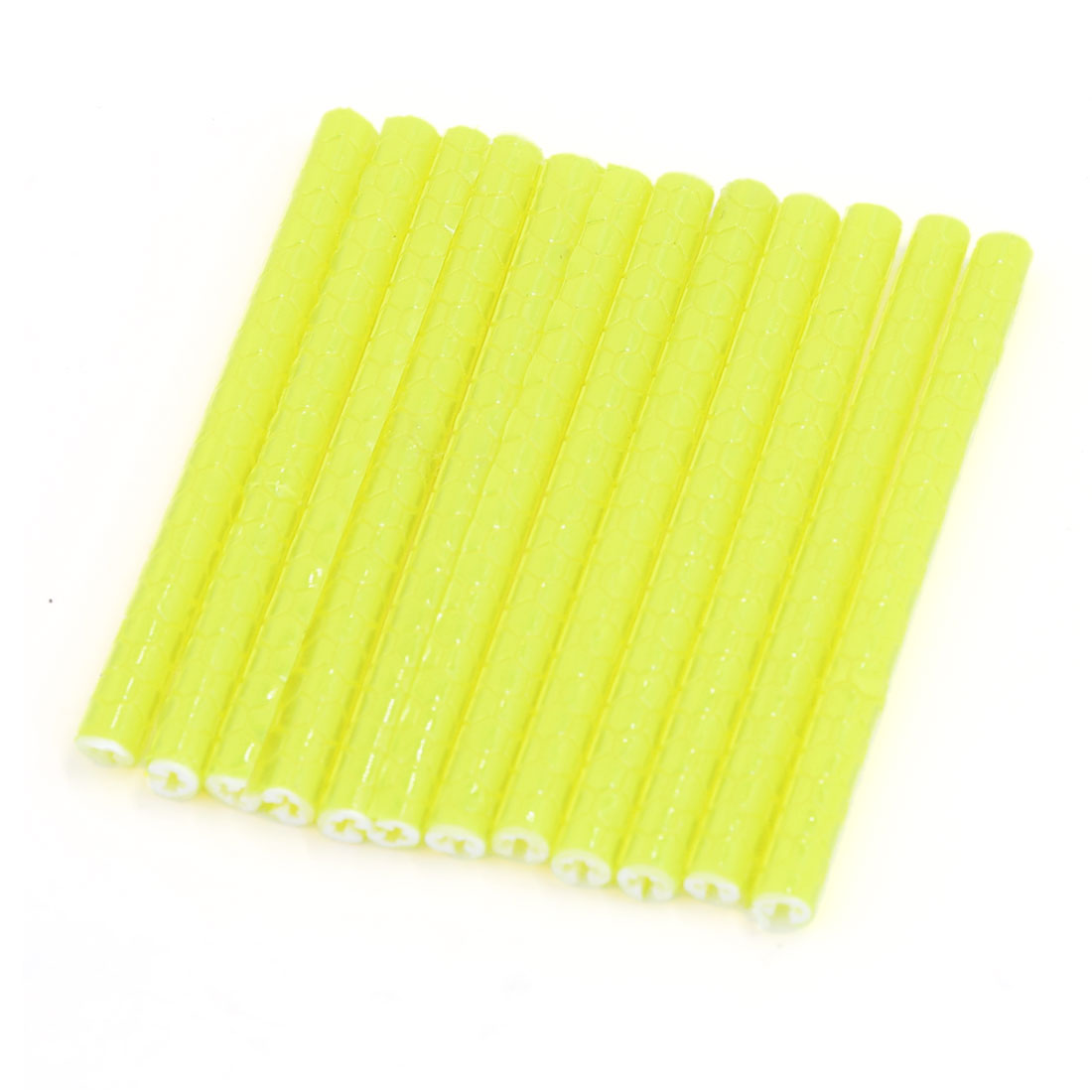 12 Pcs Yellow Bicycle Bike Wheel Rim Spoke Reflective Reflector Tube Strip 75mm