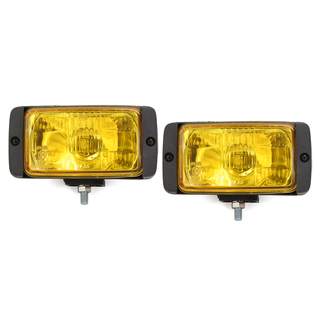 2 Pcs Rectangle Shaped H3 Yellow Halogen Light Car Fog Driving Lamp DC 12V 55W