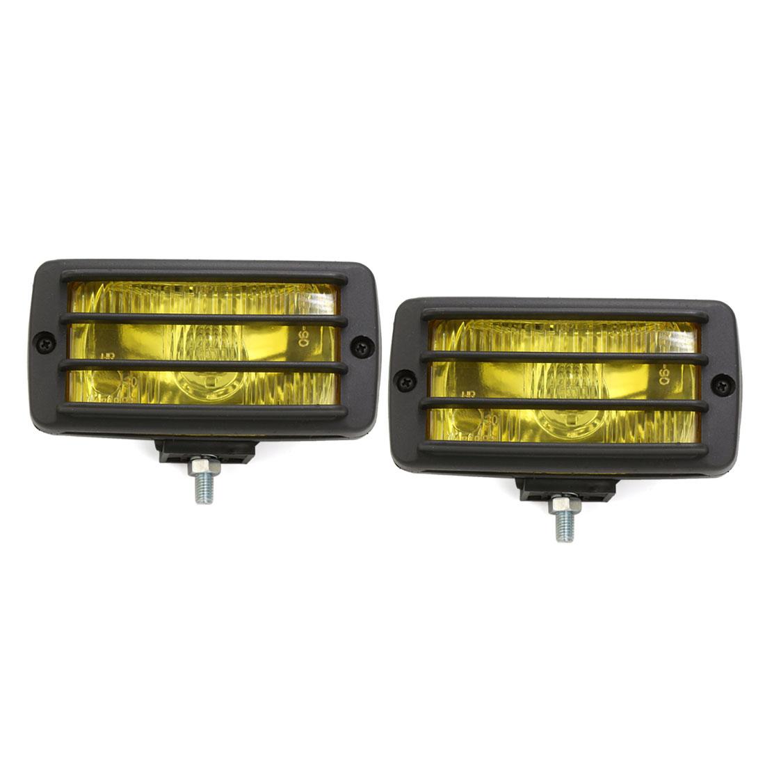 2 Pcs Black Shell H3 Yellow Halogen Light Fog Head Lamp DC 12V 55W for Car