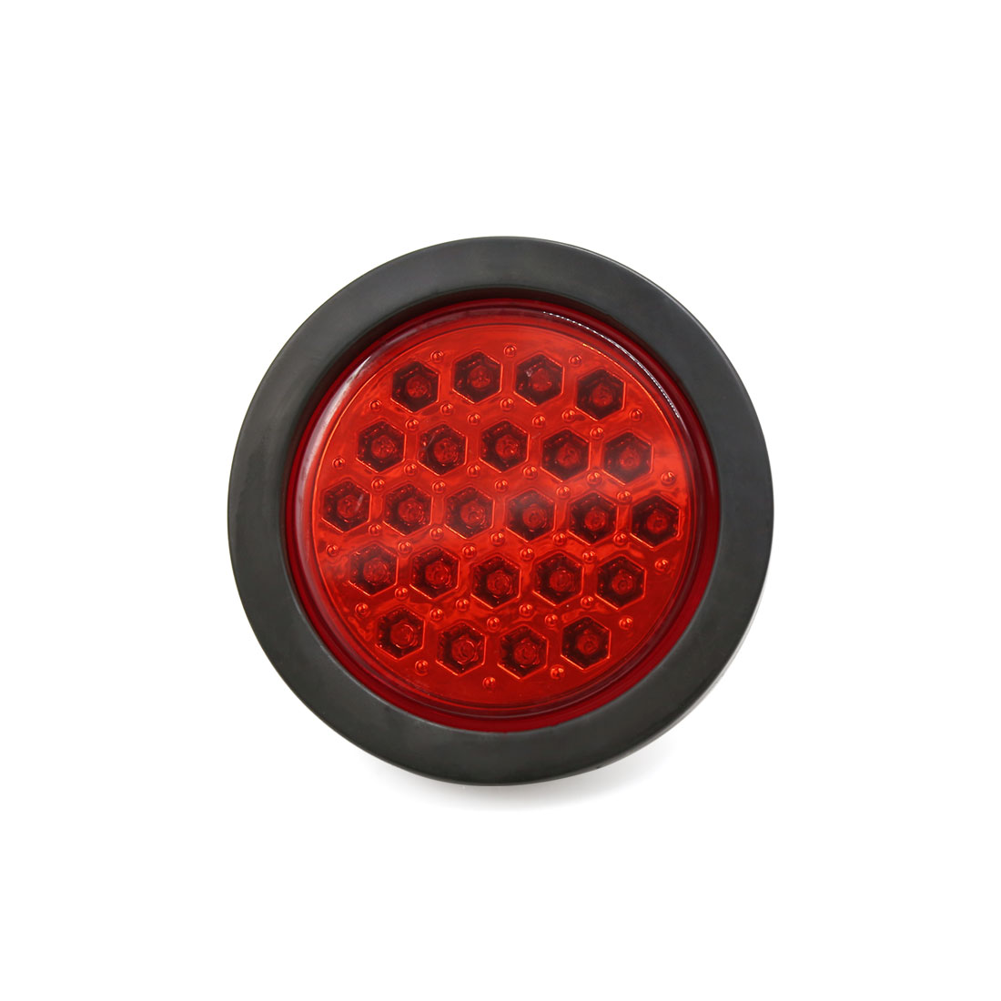 Trailer Truck Round Rubber Grommet 24 LED Red Turn Tail Light Brake Lamp DC 24V