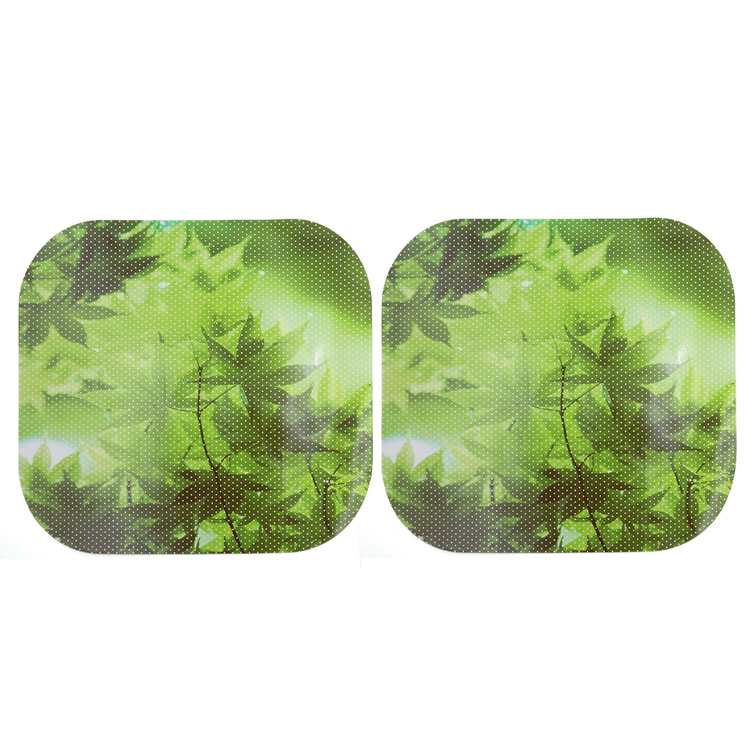 2pcs Green Maple Leaf Pattern Adhesive Car Window Static Sticker 42cm x 33cm