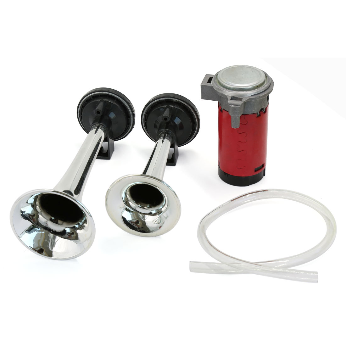 12V Chrome Dual Air Horn Trumpet Compressor Kit for Car Truck Boat Motorcycle