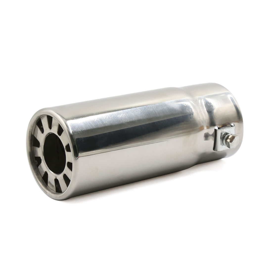 Sliver Tone Stainless Steel Round Tip Exhaust Muffler Silencer Tail Pipe for Car