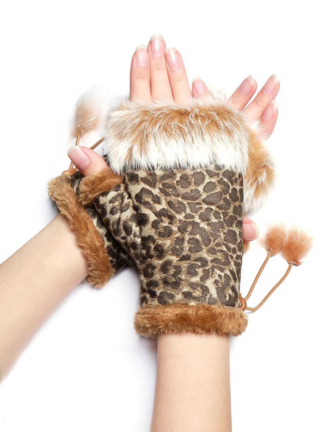 Women Plush Trim Lace Up Design Leopard Fingerless Gloves Beige