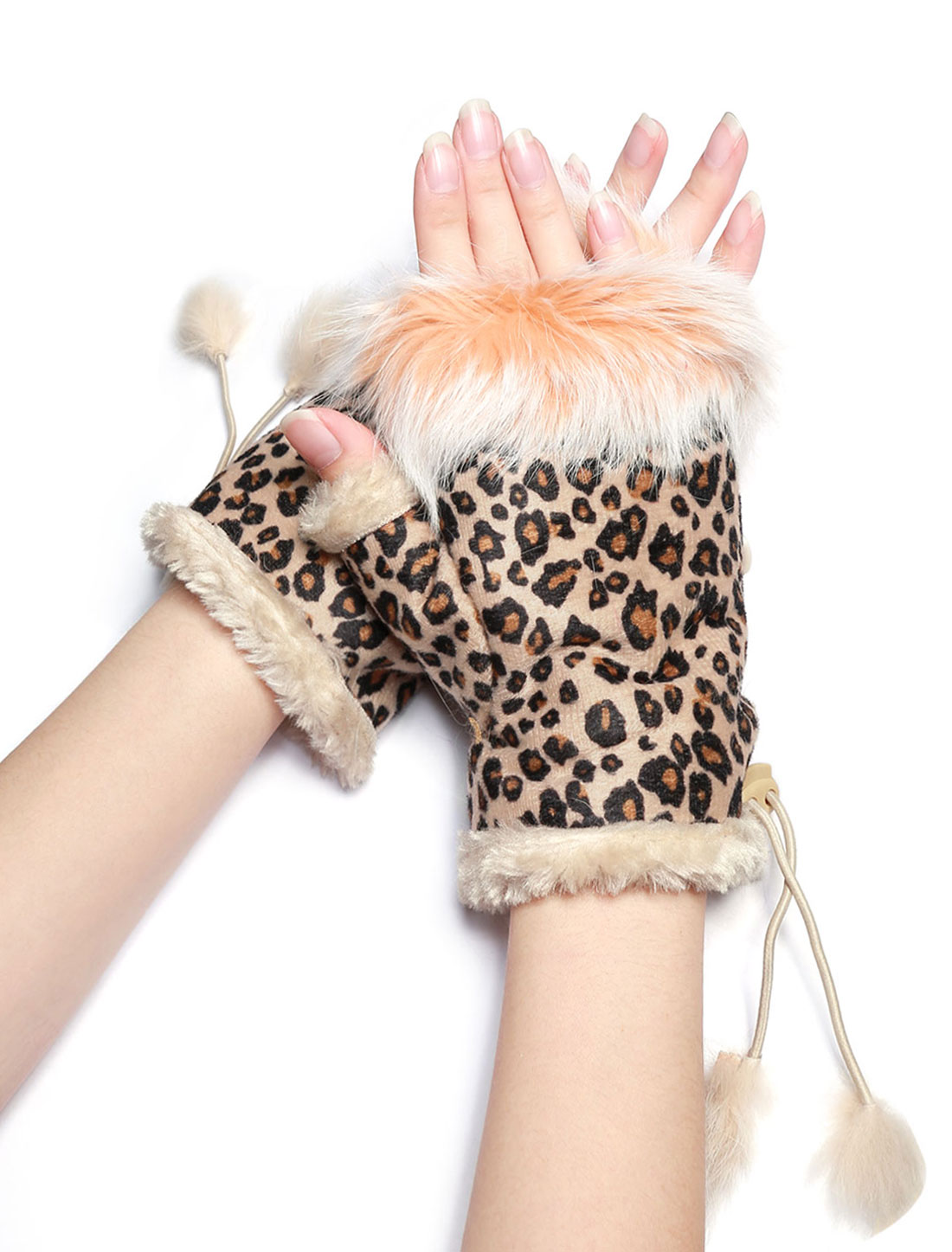 Women Plush Soft Lined Leopard Fingerless Gloves Pink
