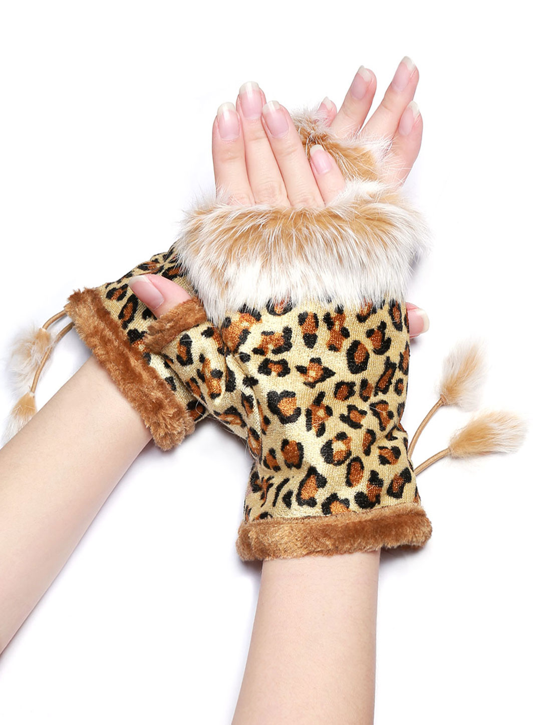 Women Lace Up Side Leopard Computer Fingerless Gloves Yellow