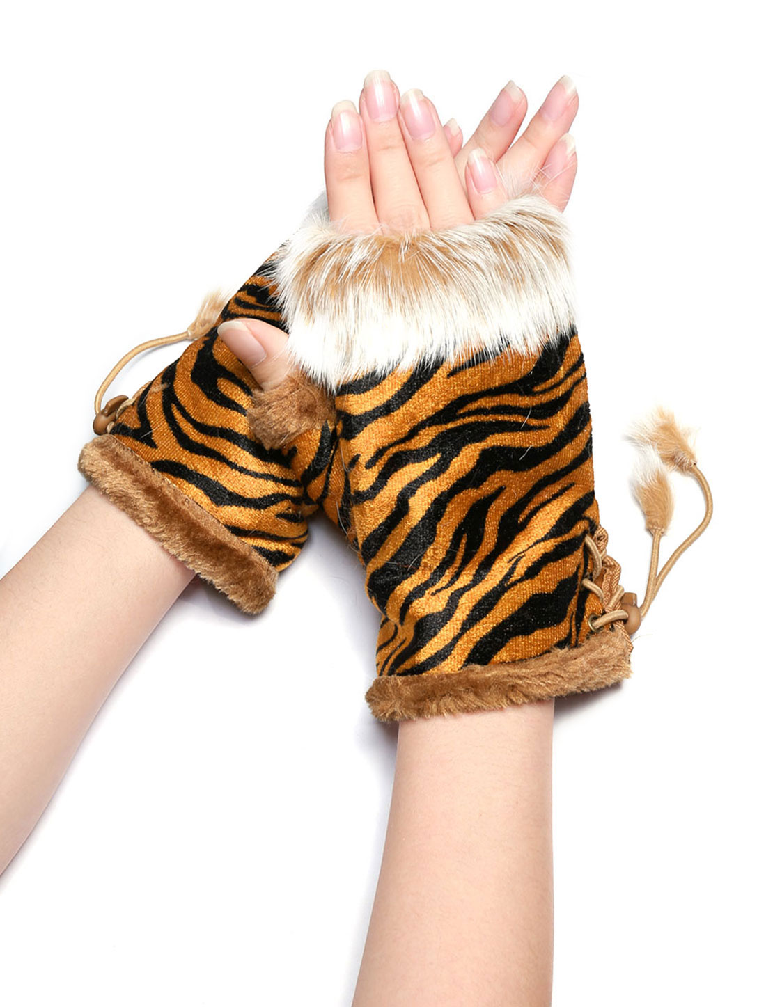 Lady Plush Adjuatable String Tiger Fingerless Gloves Gold