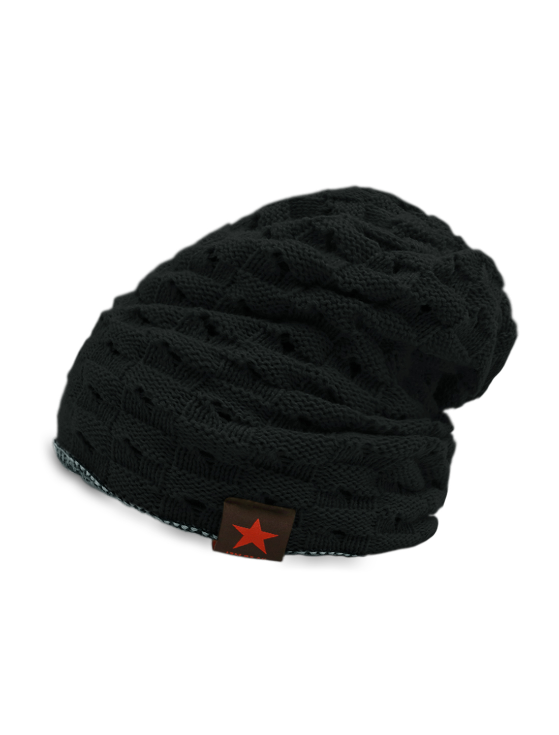 Unisex Hollow Out Design Reversible Knitted Beanie Hat Black