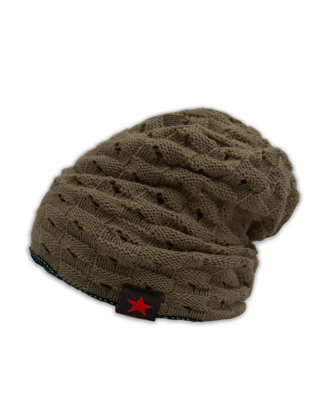 Unisex Hollow Out Design Reversible Knitted Beanie Hat Brown