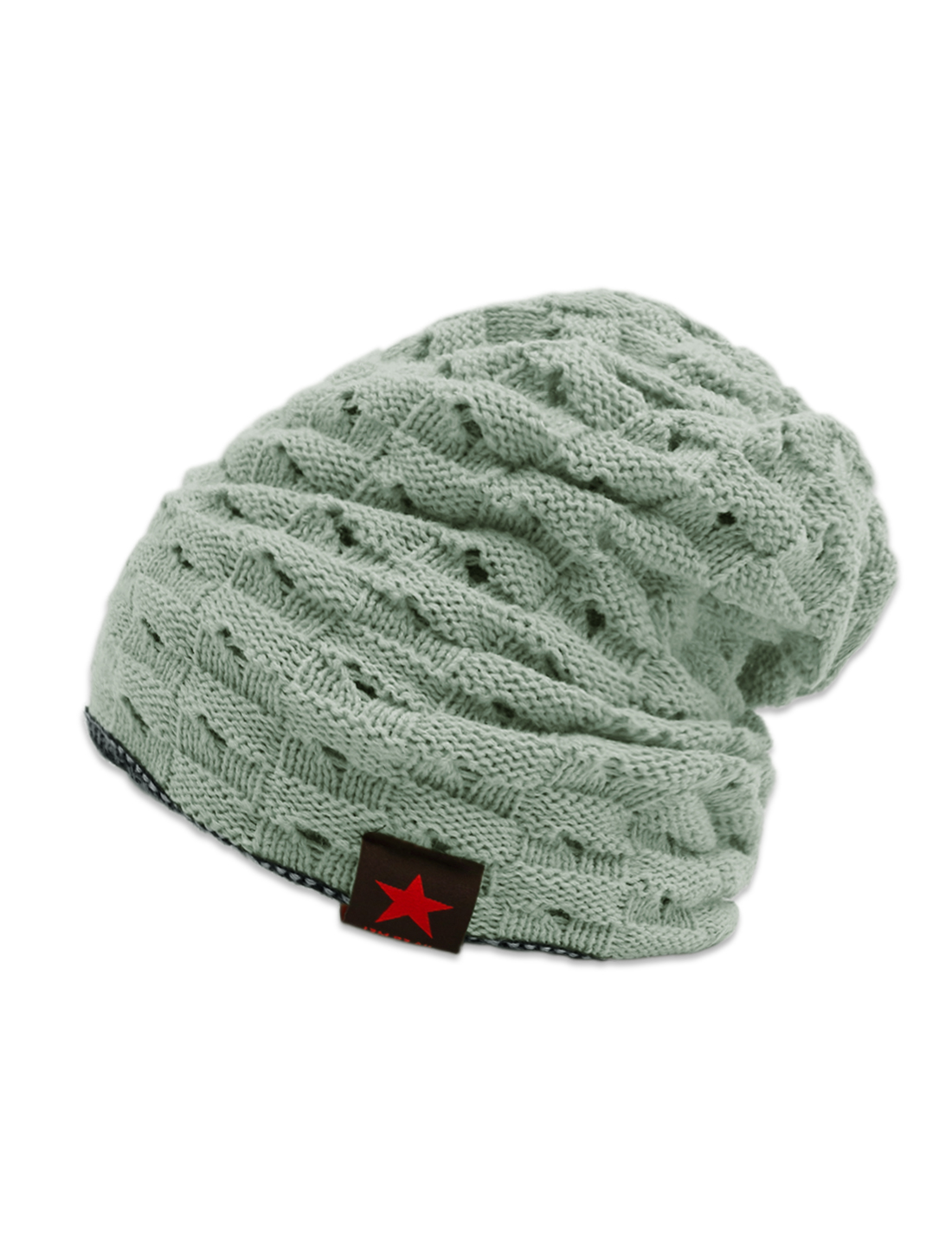 Unisex Hollow Out Design Reversible Knitted Beanie Hat Gray