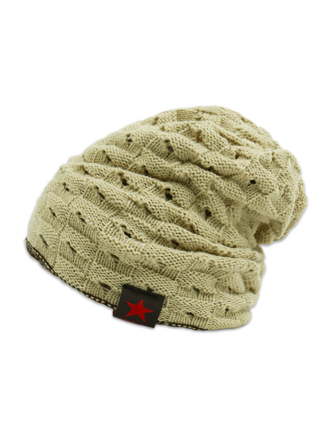Unisex Hollow Out Design Reversible Knitted Beanie Hat Beige