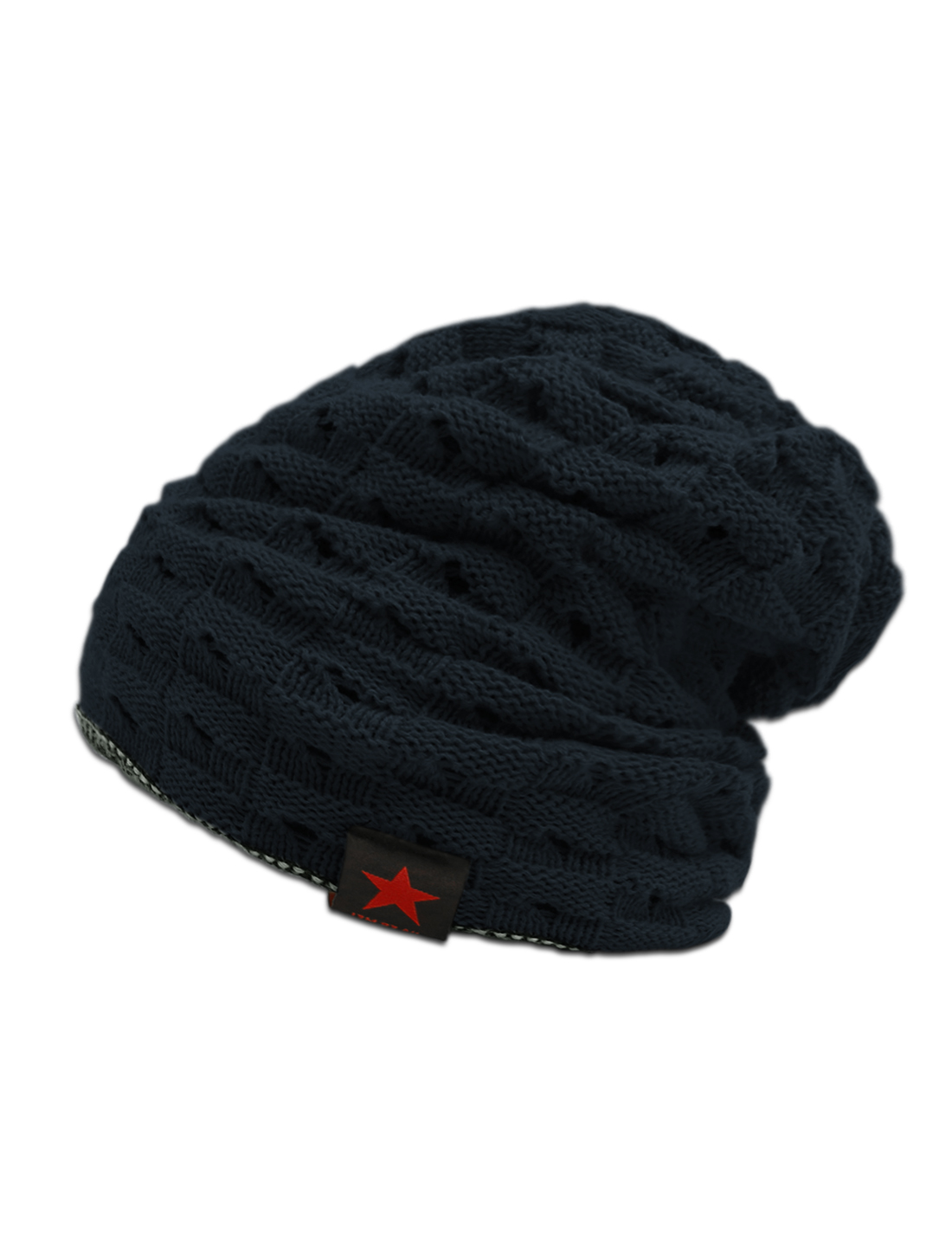 Unisex Hollow Out Design Reversible Knitted Beanie Hat Blue