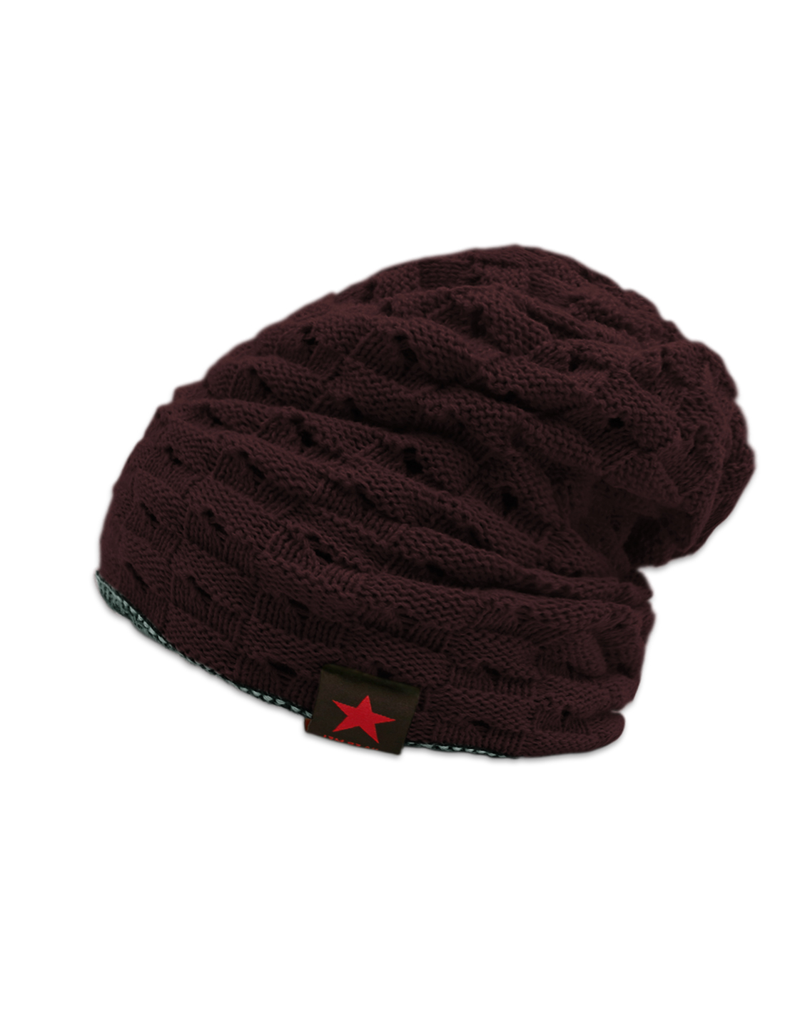 Unisex Hollow Out Design Reversible Knitted Beanie Hat Red