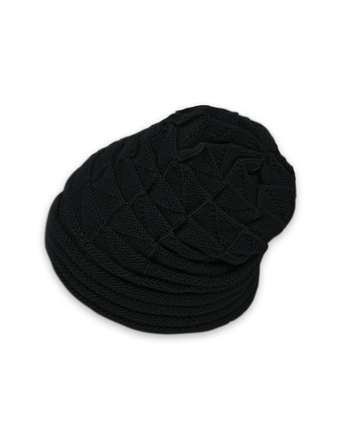 LZ079 Unisex Roll Up Hem Triangle Pattern Stretchy Knit Beanie Hat Black