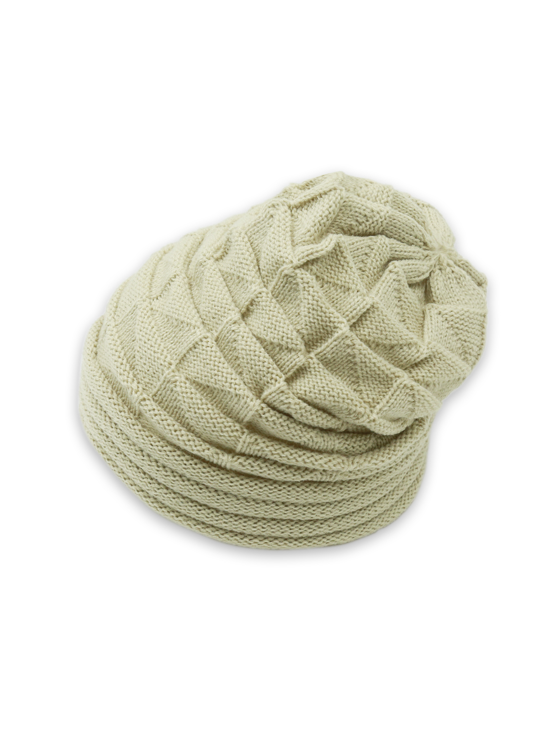Unisex Roll Up Hem Triangle Pattern Stretchy Knit Beanie Hat Beige