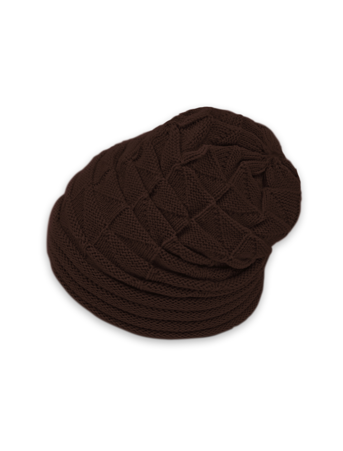 Unisex Roll Up Hem Triangle Pattern Stretchy Knit Beanie Hat Brown