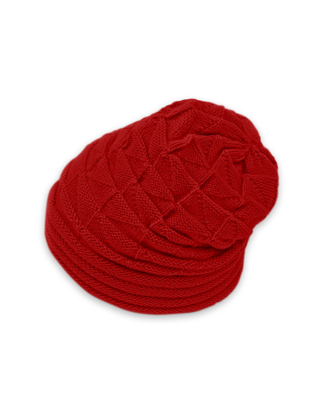 Unisex Roll Up Hem Triangle Pattern Stretchy Knit Beanie Hat Red