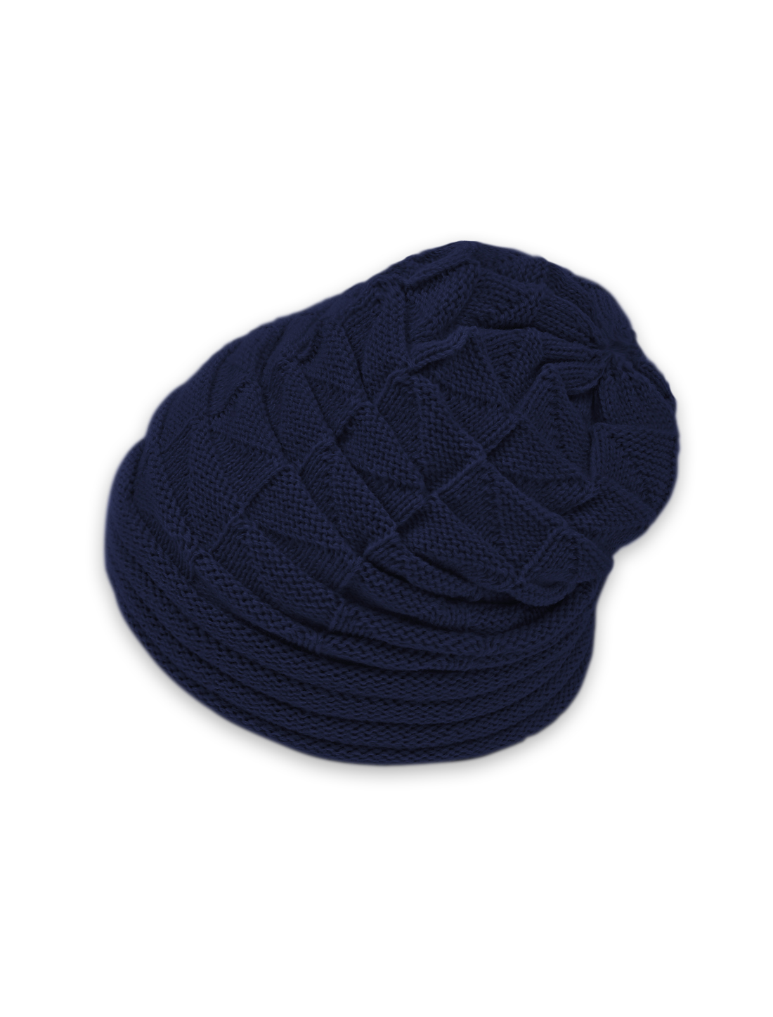 Unisex Roll Up Hem Triangle Pattern Stretchy Knit Beanie Hat Blue