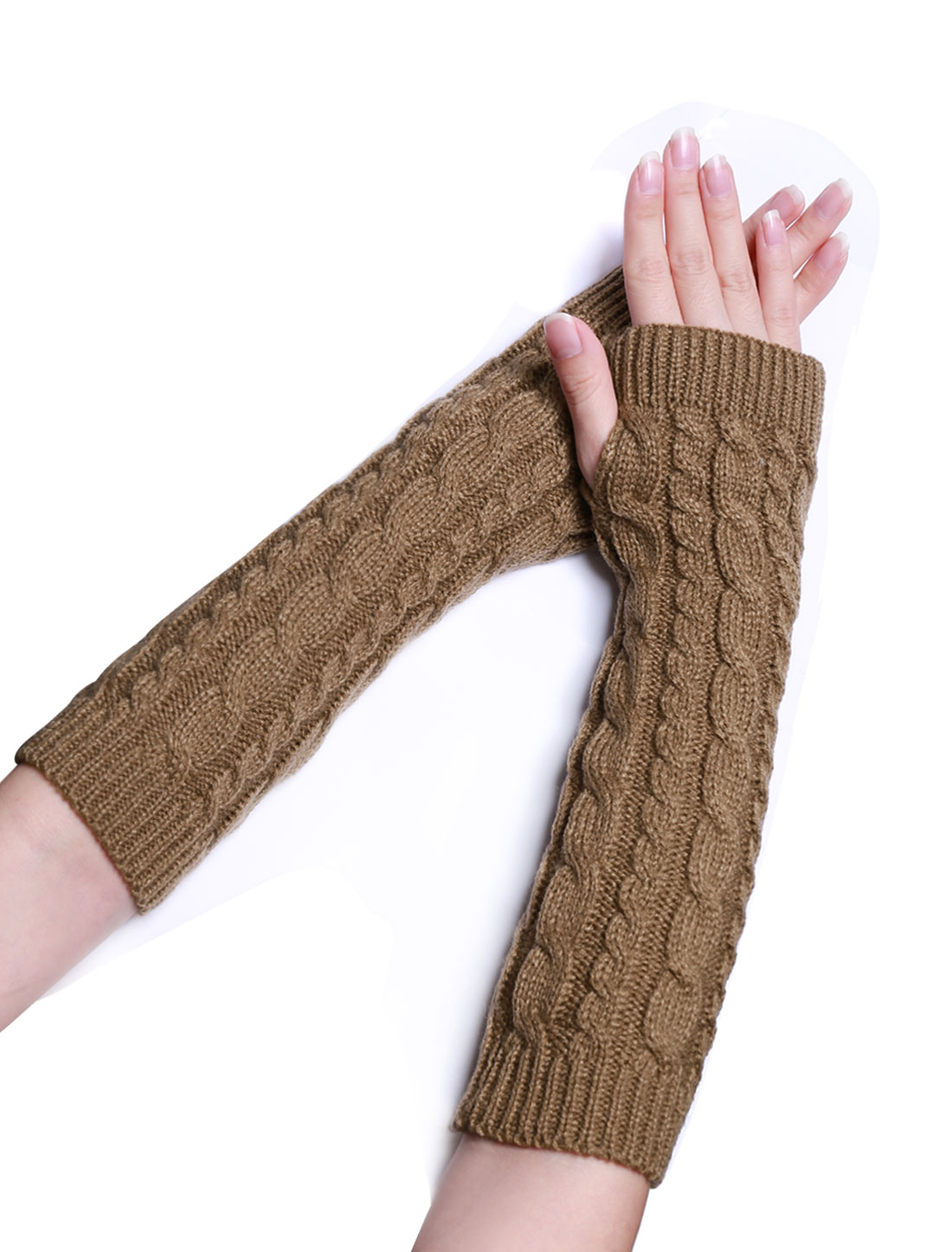 Unisex Thumbhole Fingerless Elbow Length Knitted Gloves Brown