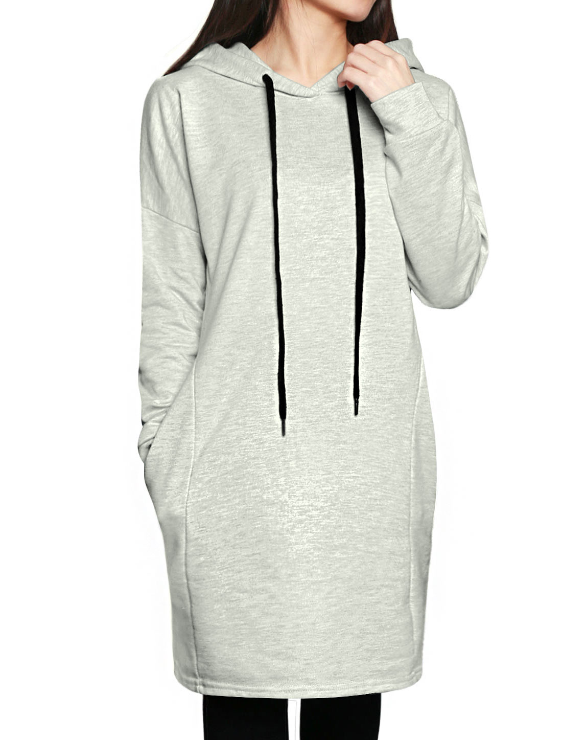 Woman Drawstring Tunic Hoodie w Seam Pockets Gray XS