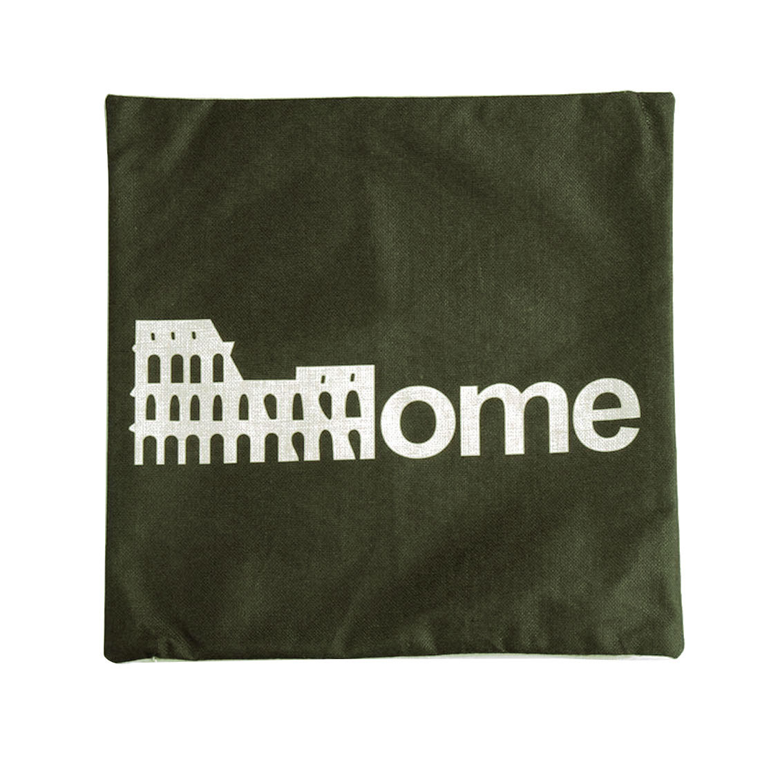 Piccocasa Linen Rome Colosseum Pattern Square Shaped Cushion Cover