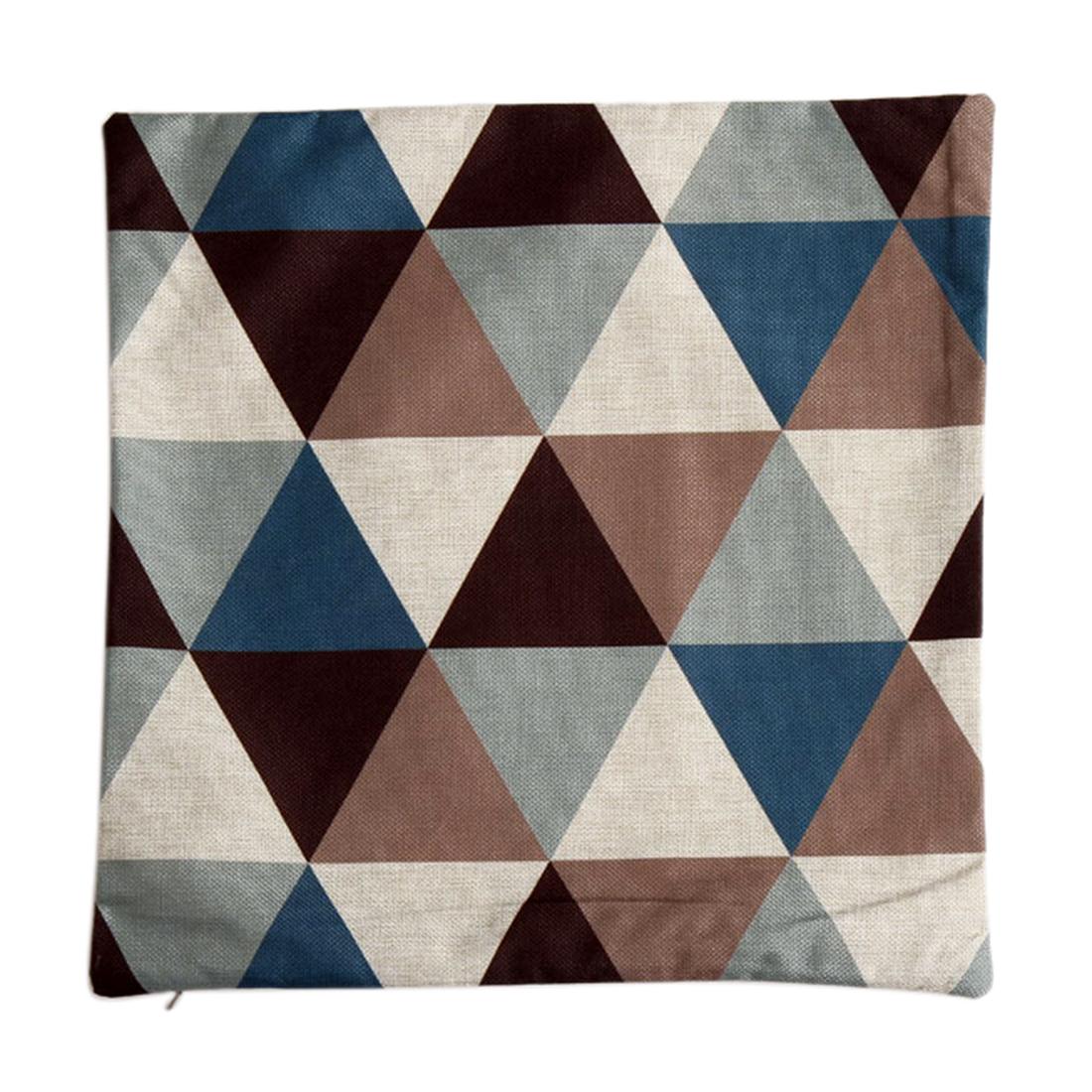 Piccocasa Sofa Linen Blue Rhombus Pattern Cushion Cover Pillow Case 45 x 45cm