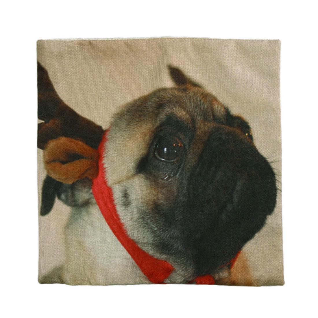 Piccocasa Sofa Decor Dog Pattern Zipper Closure Waist Cushion Pillow Cover Case