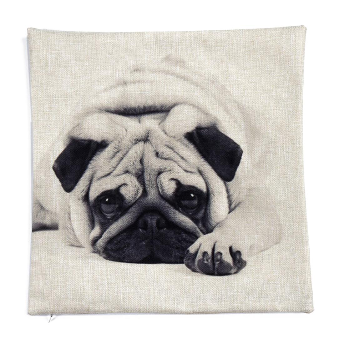Piccocasa Home Decor Dog Print Waist Cushion Pillow Cover Case 45 x 45cm