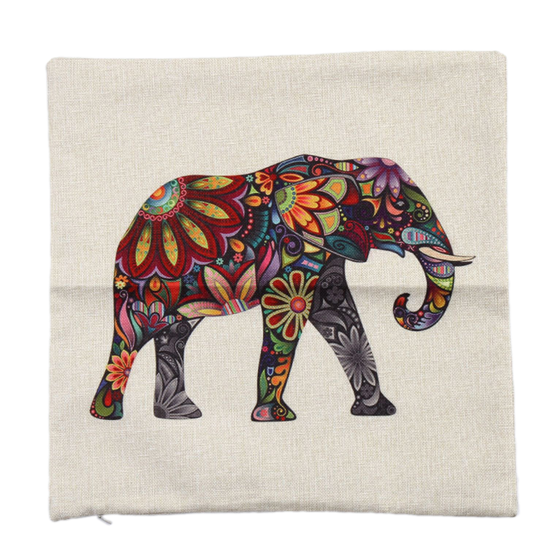 Piccocasa Home Decor Elephant Pattern Zipper Closure Cushion Pillow Cover Case