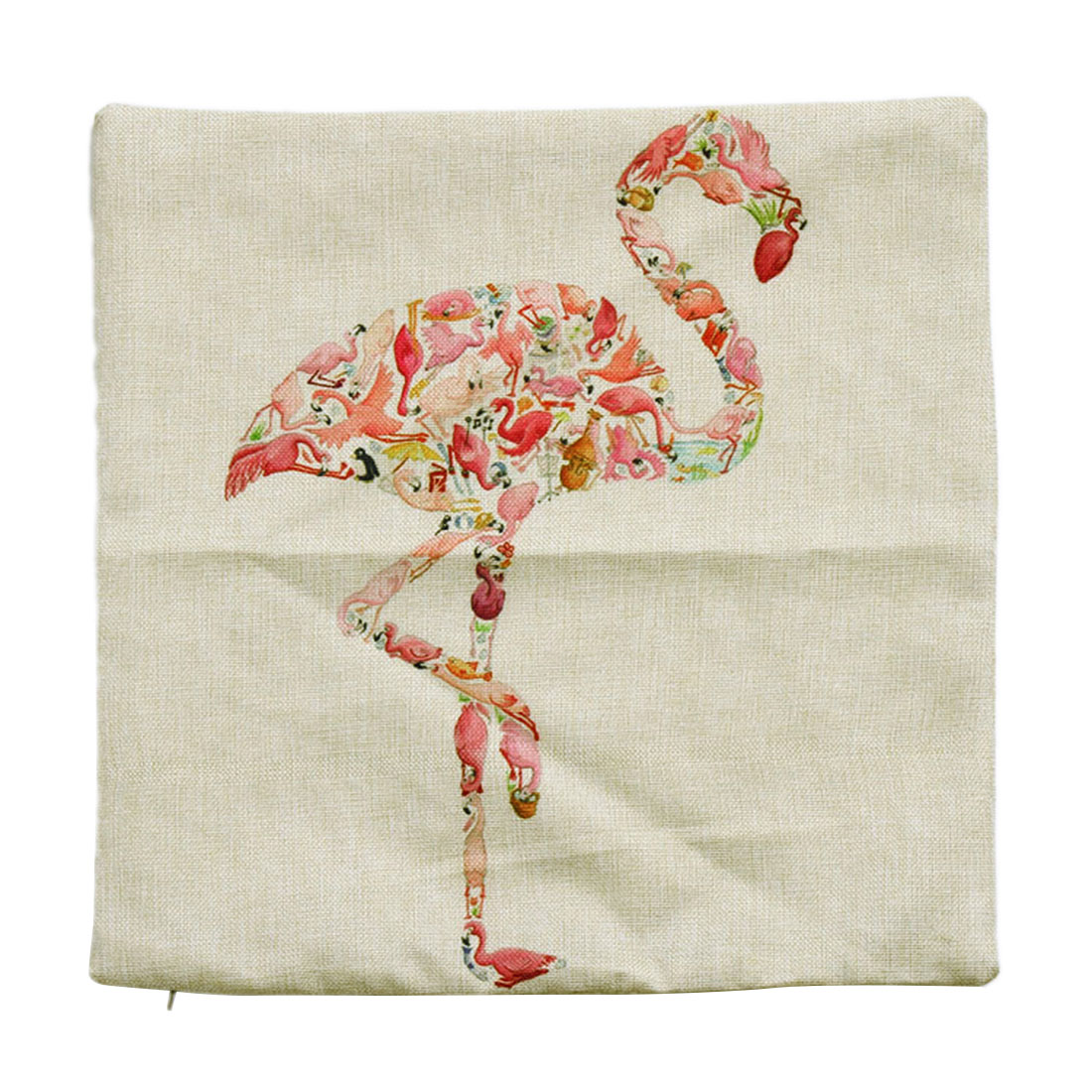 Piccocasa Linen Red-crowned Crane Print Zippered Cushion Pillow Cover Case