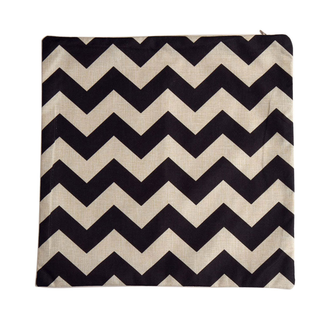 Piccocasa Zigzag Printed Cushion Pillow Cover Case Black Beige 45 x 45cm
