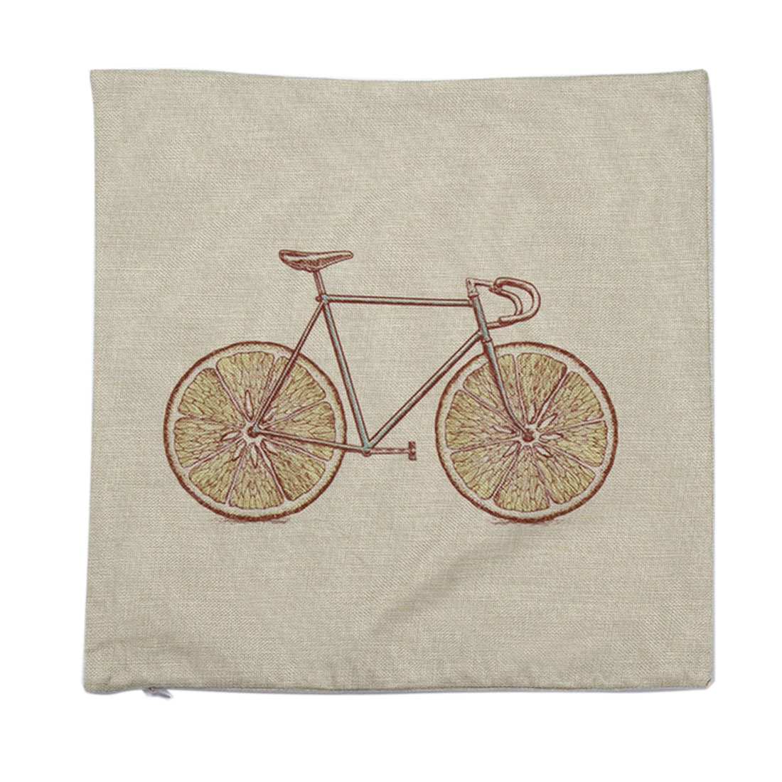 Piccocasa Home Sofa Linen Grapefruit Bike Pattern Cushion Cover Pillow Case
