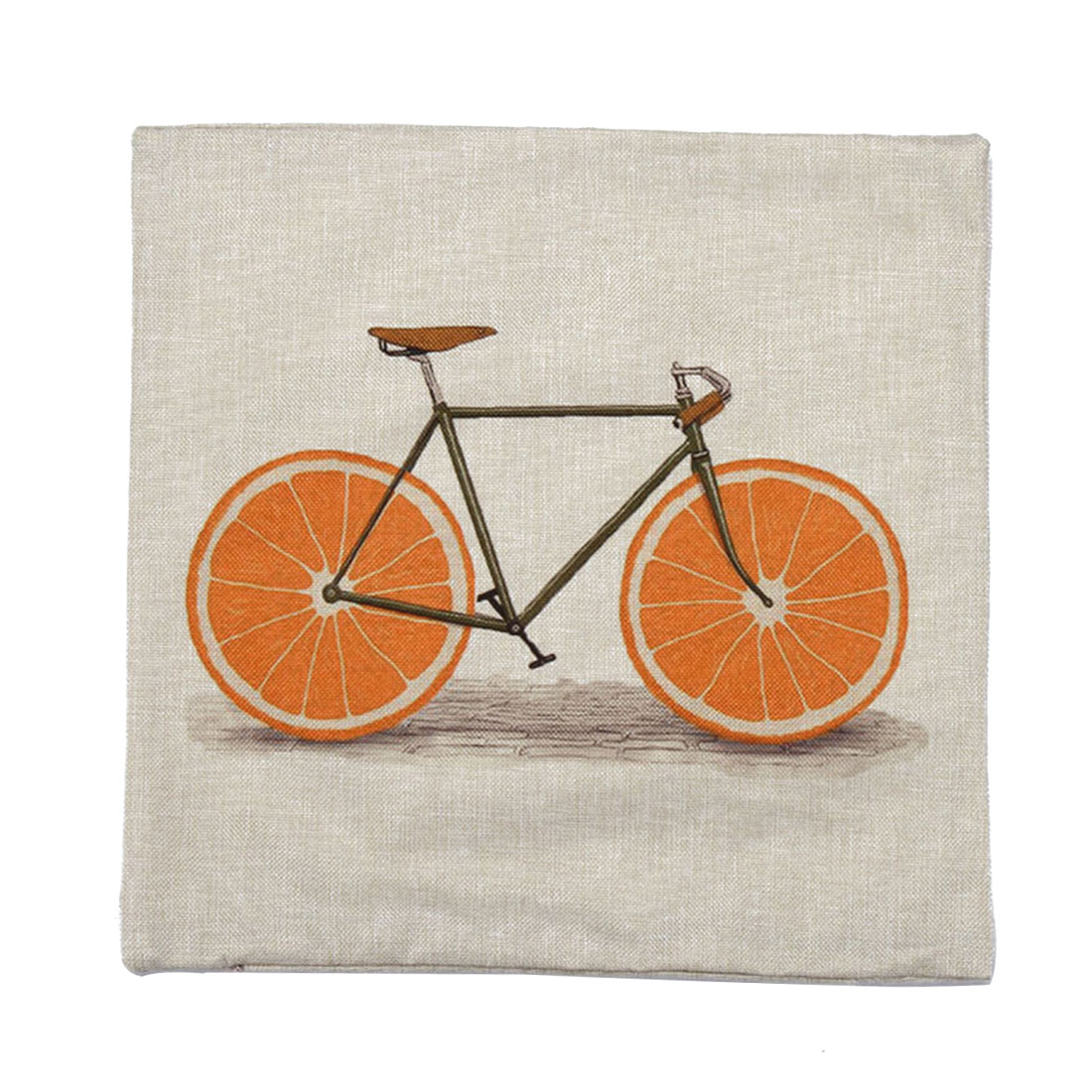 Piccocasa Home Sofa Linen Orange Bike Pattern Cushion Cover Pillow Case