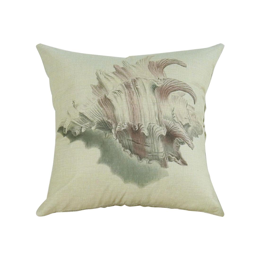 Piccocasa Home Sofa Linen Conch Pattern Square Shaped Cushion Cover