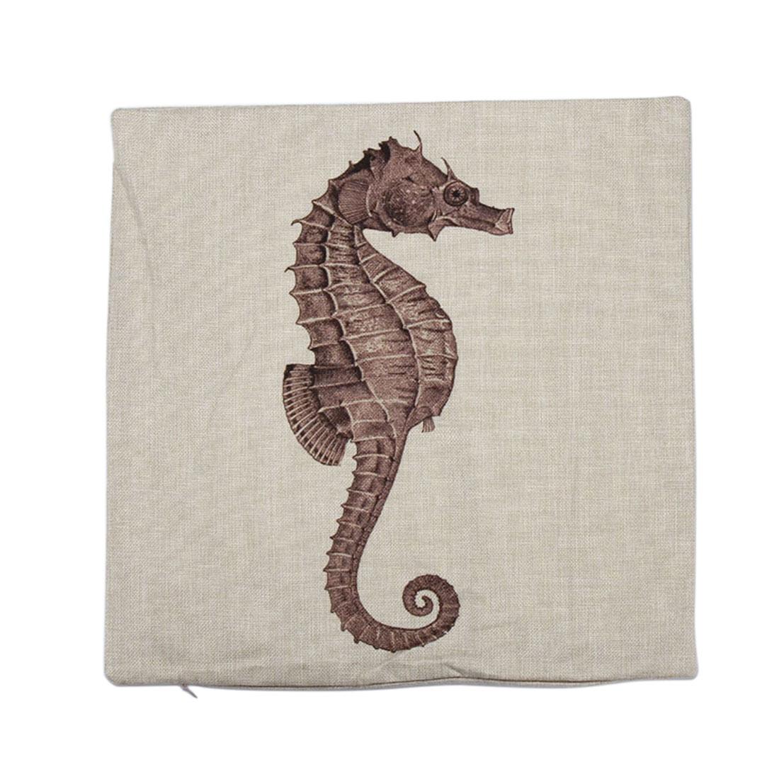 Piccocasa Bed Sofa Linen Sea Horse Printed Throw Pillow Cushion Cover