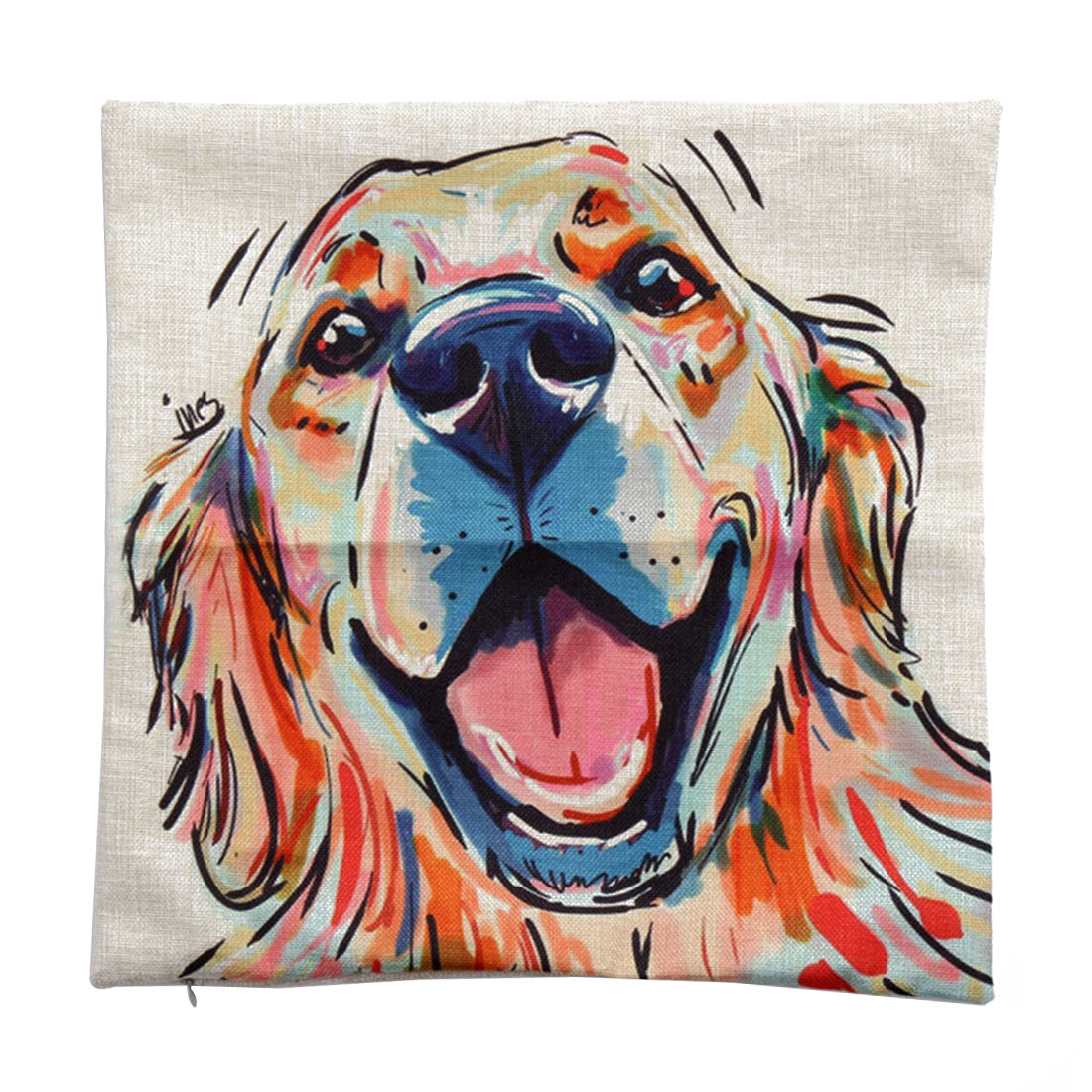 Piccocasa Linen Painting Dog Face Pattern Pillowcase Cushion Cover 45 x 45cm