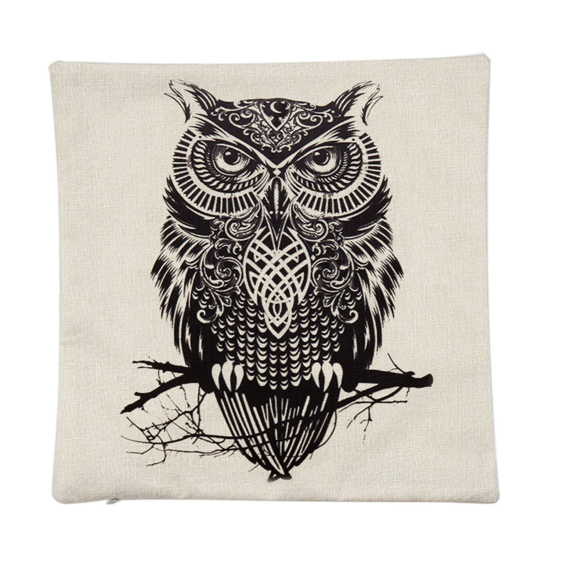 Piccocasa Linen Owl Pattern Waist Cushion Pillow Cover Case 45 x 45cm