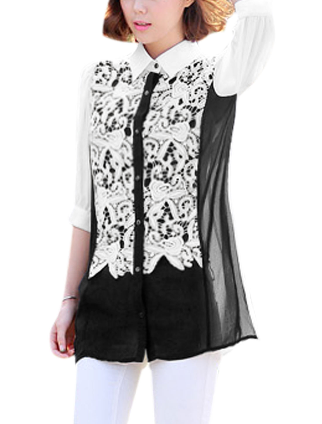 Women 3/4 Sleeves Crochet Panel Color Block Chiffon Tunic Shirt White Black M