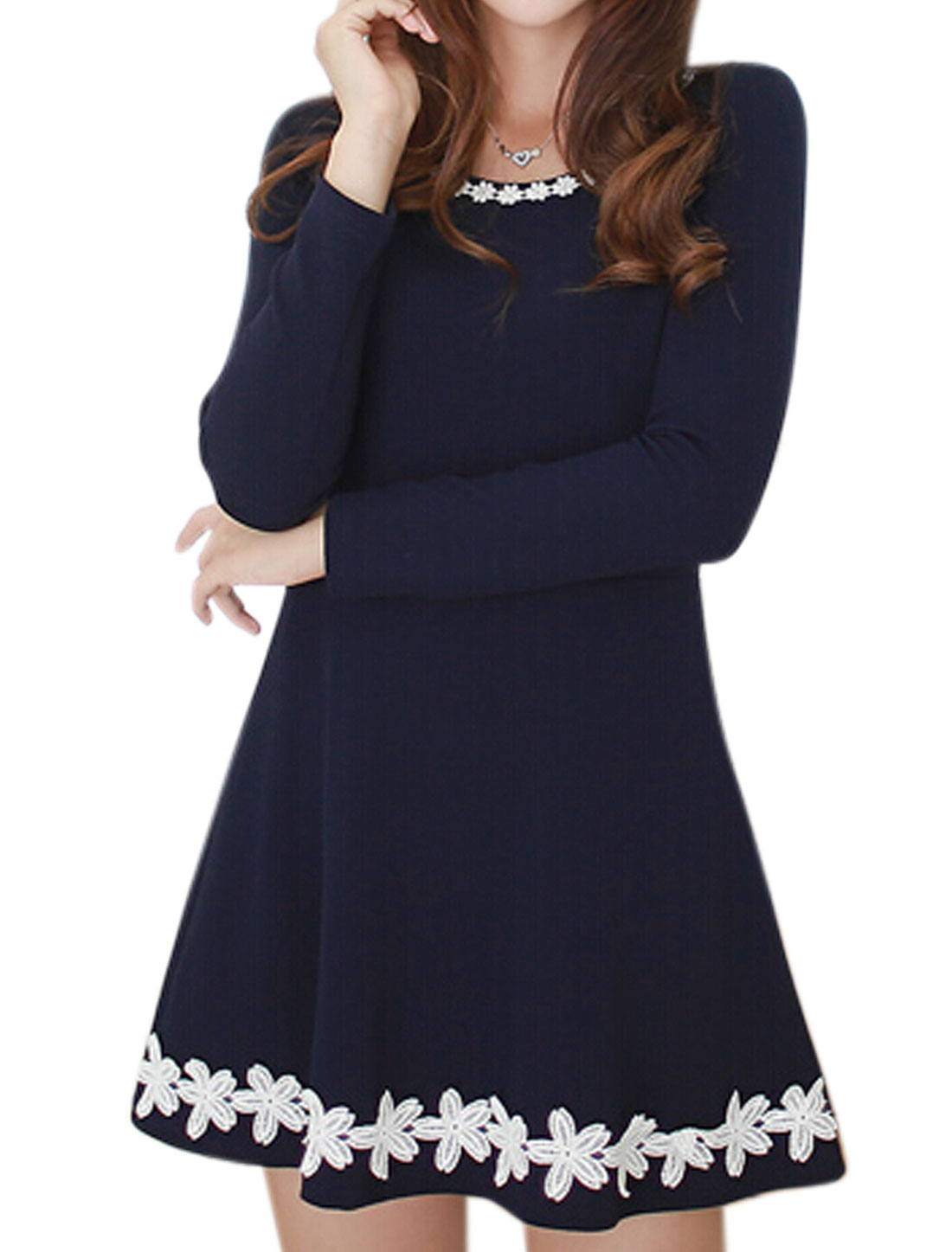 Women Round Neck Long Sleeves Crochet Design Tunic Dress Blue S