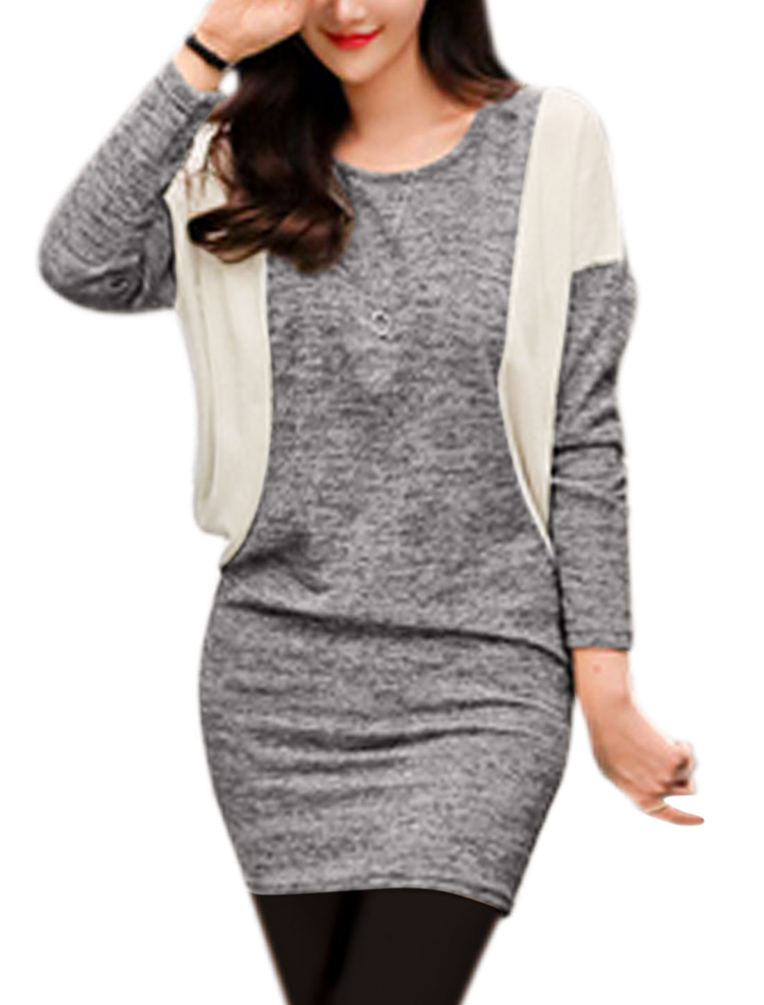 Women Round Neck Dolman Sleeves Color Block Blouson Dress Gray S